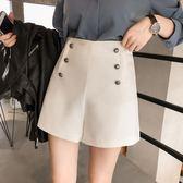 2018新款女裝春裝時尚雙排扣高腰休閒褲女短褲寬鬆A字寬管褲   莉卡嚴選