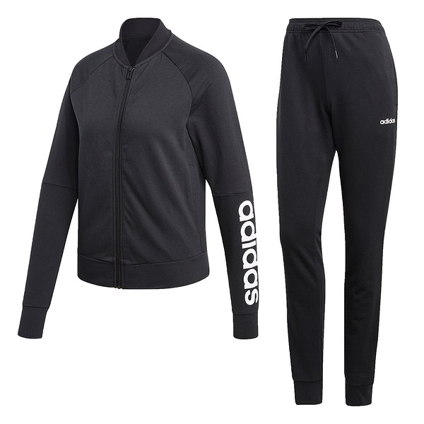 【現貨】ADIDAS TRACK SUIT 女裝 套裝 外套+長褲 黑【運動世界】DV2434