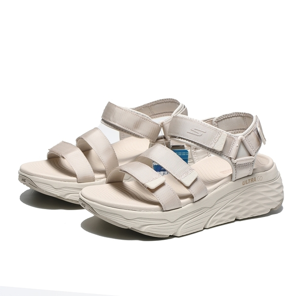 SKECHERS 涼鞋 MAX CUSHIONING 奶茶灰 黏帶 增高 女 (布魯克林) 140218NAT