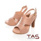 TAS鏤空剪裁魚口高跟涼鞋–質感卡其