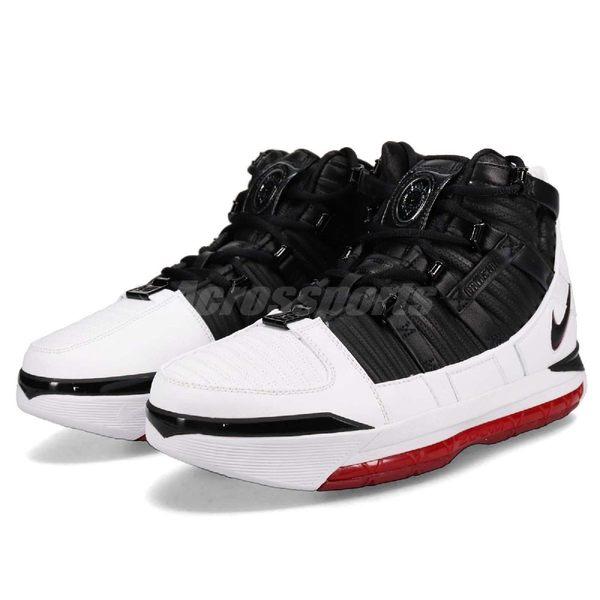 2d5ef7a0a788 Nike Zoom LeBron III QS Home 紅黑白3代經典配色復刻款藍球鞋男鞋 PUMP306  AO2434-101