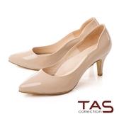 TAS質感素面牛漆皮曲線高跟鞋–亮麗膚