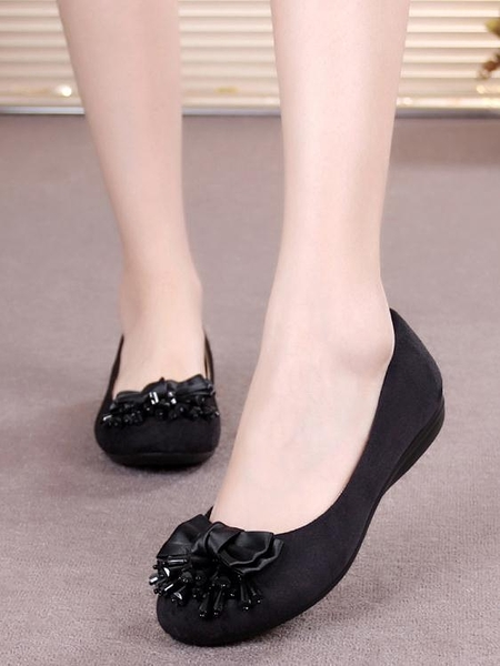 工作鞋老北京布鞋女2020春季新款時尚平底軟底黑色上班工作鞋淺口一腳蹬 雲朵走走