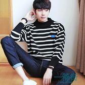 針織衫男韓版男士保暖粗針半高領毛衣寬鬆型打底衫秋上衣服加厚潮男裝【一條街】