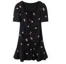 太平鳥2021春夏新款精致刺繡碎花洋裝方領抽皺魚尾裙黑色裙子女 設計師