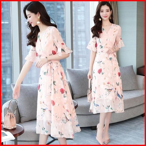 韓國風短袖洋裝 雪紡連衣裙女中長款修身顯瘦綁帶收腰印花連身裙 依多多