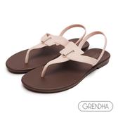 GRENDHA 簡約個性T字帶涼鞋-淡粉/咖啡