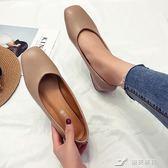 方頭粗跟單鞋春季復古奶奶鞋軟皮簡約黑色工作女鞋舒適低跟鞋 樂芙美鞋
