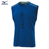 MIZUNO 男裝 背心 慢跑 路跑 吸汗快乾 眩光燙印 兩肩反光燙印 藍【運動世界】J2TA000422
