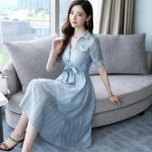 棉麻洋裝 新款顯瘦條紋襯衫裙女2018新款收腰棉麻套裝連衣裙亞麻兩件套 WE3390『優童屋』