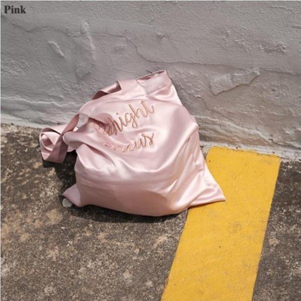 定制李宣美同款韓國設計師品牌刺繡緞面手提單肩斜跨包袋