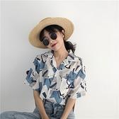 2021年新款花襯衫女復古港風設計感小眾短袖女裝襯衣夏季雪紡上衣 伊蘿