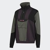 Adidas Originals Field Half-Zip男裝長袖 半開式拉鍊 拼接 內刷毛 胸前口袋 黑綠紫【運動世界】GD5575