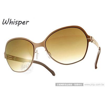 WHISPER 太陽眼鏡 WHM0001S C30 (霧面咖啡) 結合複合薄鋼新材質 墨鏡 # 金橘眼鏡