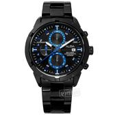ALBA / VD57-X174SD.AM3751X1 / 廣告款 三眼計時 藍寶石水晶玻璃 日期 防水100米 不鏽鋼手錶 鍍黑 44mm