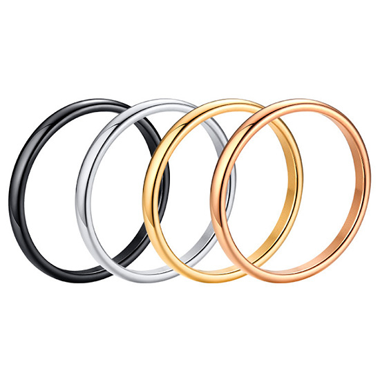 《 QBOX 》FASHION 飾品【RR-486】精緻個性百搭素面單色鈦鋼戒指/戒環(0.2cm)