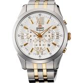 ORIENT 東方錶 都會羅馬時光計時手錶-雙色版/44mm FTW04002S
