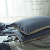 枕頭套簡約純色磨毛學生宿舍全棉單人枕套48x74cm一對2只枕罩【年貨好貨節免運費】