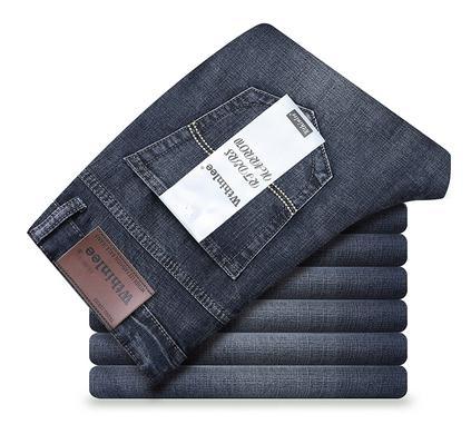 牛仔褲Wiers Lee男士淺藍色牛仔褲男夏季超薄款寬鬆直筒彈力修身長褲子-完美