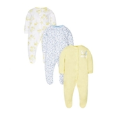 mothercare 3入花漾帶腳套兔裝-白色、藍色、黃色(M1LC652)03~12M