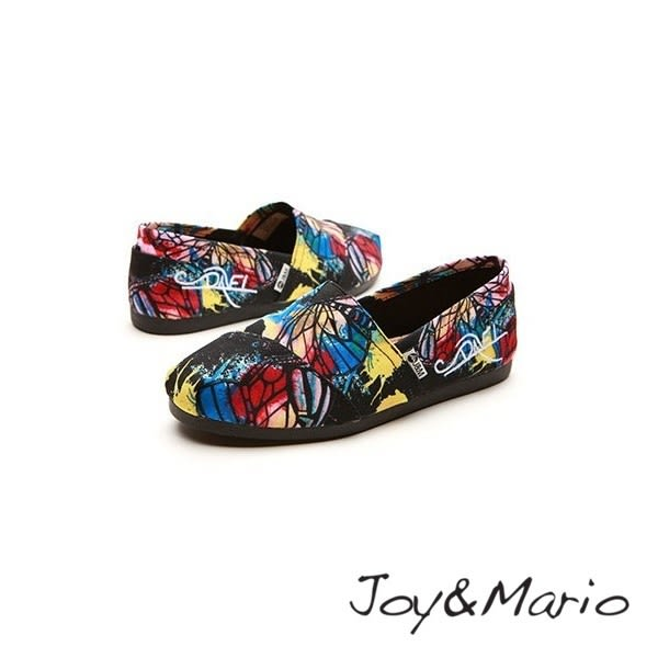 【Joy&Mario】蝶影彩繪平底休閒鞋 - 61709W BLACK