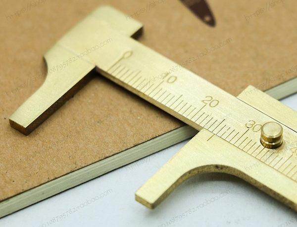 [協貿國際]迷你黃銅卡尺便攜式袖珍復古銅尺純銅游標尺雙刻度測量尺子