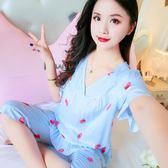 森雅誠品 薄款短袖綿綢睡衣梭織純棉綢短袖女睡衣套裝