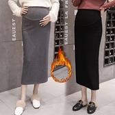 漂亮小媽咪 加絨 托腹裙 【S7002】 加厚 保暖 修身 半身裙 孕婦裝 高腰 托腹 長裙