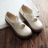 文藝平底厚底女鞋 單鞋皮鞋 復古低筒鞋