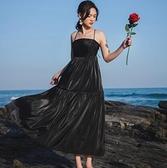 涼感吊帶洋裝長裙~露背洋裝禮服~法式性感吊帶後背系帶氣質宴會高端輕奢禮服裙8251.NE289日韓屋
