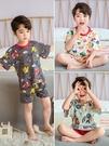 男童夏季薄款家居服全棉大中小童半袖空調服兒童純棉寬松睡衣套裝
