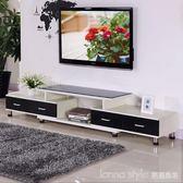 鋼化玻璃伸縮電視櫃茶幾組合簡約現代歐式小戶型客廳電視機櫃 LannaS IGO