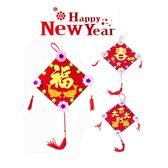 【BlueCat】新年菱形四邊花朵紅色春聯流蘇吊飾 手做材料包