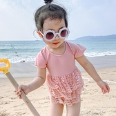 新韓國兒童泳衣女女童寶寶嬰兒蕾絲紗裙小公主連身裙式度假游泳衣 米娜小鋪