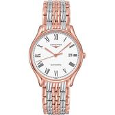 LONGINES 浪琴 琴韻系列羅馬機械錶-白x雙色版/38.5mm L49601117