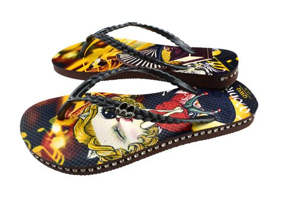 QWQ創意鞋- Monroe Cat 施華洛世奇水鑽夾腳人字拖鞋-咖啡 (史帝夫系列 )