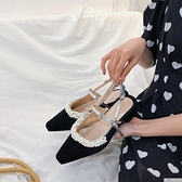 單鞋女2021春夏赫本風包頭瑪麗珍一字扣帶珍珠粗跟仙女高跟鞋涼鞋 母親節特惠