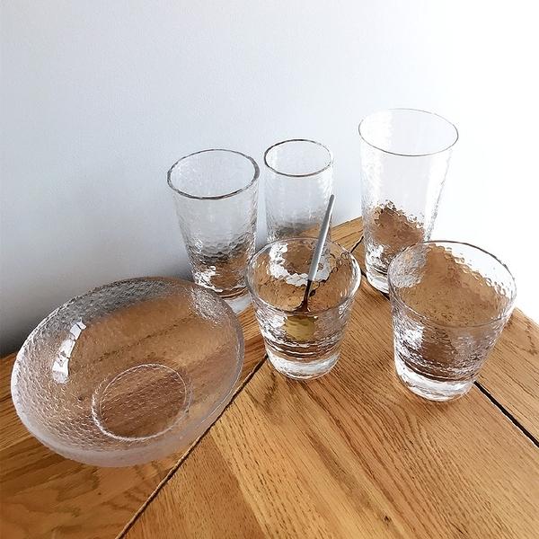 [超豐國際]耐熱錐目紋玻璃杯子 茶杯咖啡杯 創意無色透明杯耐