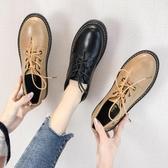 小皮鞋 女英倫風黑色春新款平底學生鞋子韓版百搭中跟春款單鞋 - 雙十二交換禮物