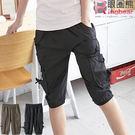 工作褲--造型感十足鬆緊褲頭裝飾釦多重口袋工作五分褲(黑.綠M-2L)-S63眼圈熊中大尺碼★