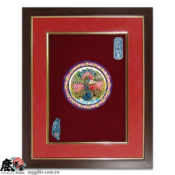 鹿港窯-台灣國寶交趾陶開運裝飾壁飾-立體框【M 鶴壽桃齡】