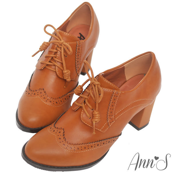 Ann'S英倫甜心-綁帶牛津雕花粗跟踝靴-棕