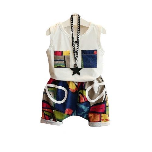 短袖套裝 無袖上衣背心+短褲套裝 寶寶童裝 MS9635 好娃娃