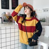 一件免運-春秋女裝2019新款正韓學院風甜美寬鬆加厚拼色套頭毛衣長袖針織衫