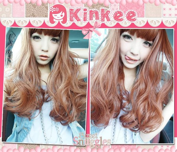 *╮Kinkee假髮╭*MIKIYO示範  西川瑞希  摩登系GAL系波浪大捲耐熱中長髮【K0027】
