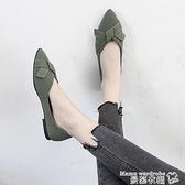 豆豆鞋 2021春季新款網紅百搭尖頭淺口單鞋女韓版平底仙女風溫柔豆豆鞋子 曼慕