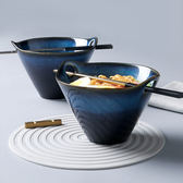 窯變陶瓷鬥笠碗泡面碗家用日式水果沙拉碗雙耳拉面碗創意餐具湯碗