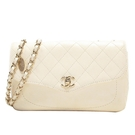 CHANEL 香奈兒 白色牛皮淺金釦肩背包 Flap Chain Shoulder Bag【BRAND OFF】