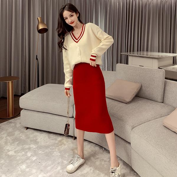 絕版出清 韓系針織拼色V領套頭毛衣半身裙套裝長袖裙裝