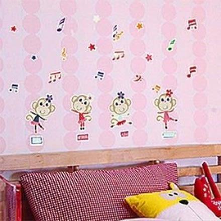新款夜光造型壁貼-音樂小猴 Y0021